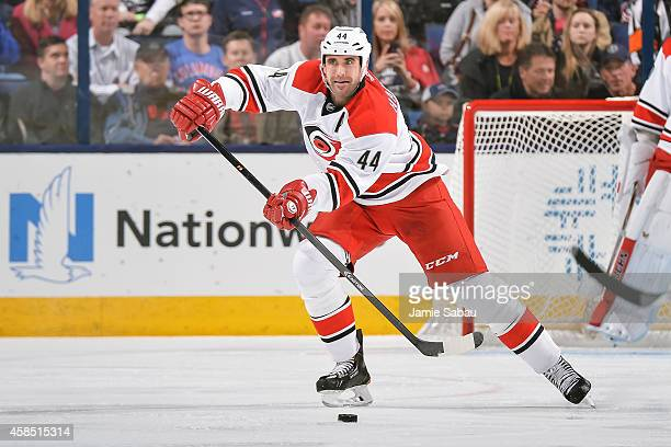 Jay Harrison of the Carolina Hurricanes skates with the puck against the Columbus Blue Jackets on November 4 2014 at Nationwide Arena in Columbus Ohio