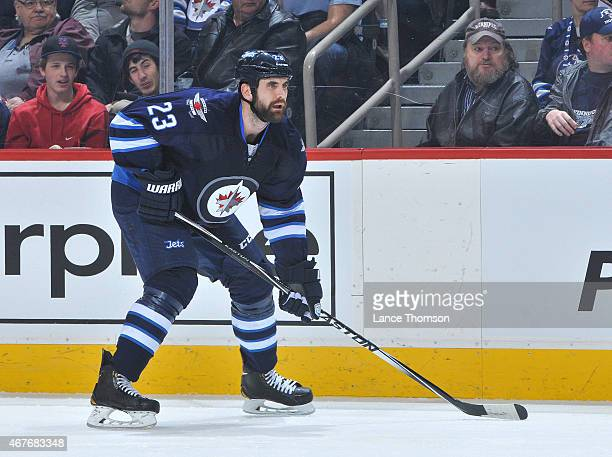 Jay Harrison of the Winnipeg Jets gets set during first period action against the Washington Capitals on March 21 2015 at the MTS Centre in Winnipeg...