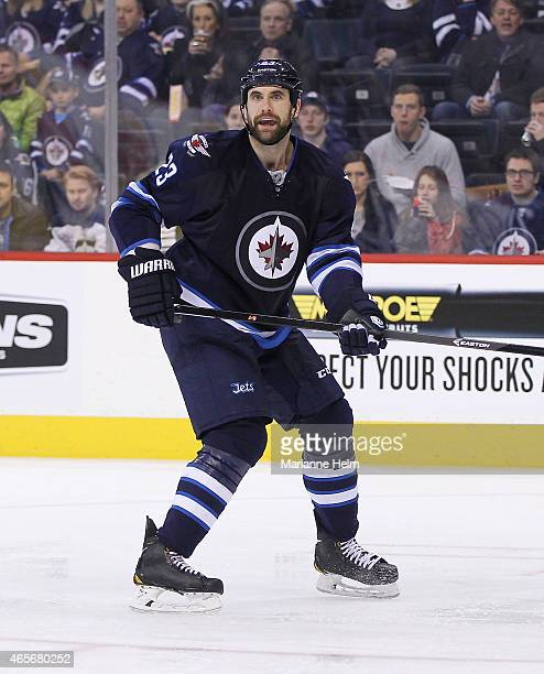 Jay Harrison of the Winnipeg Jets skates down the ice in second period action in an NHL game against the Ottawa Senators at the MTS Centre on March 4...