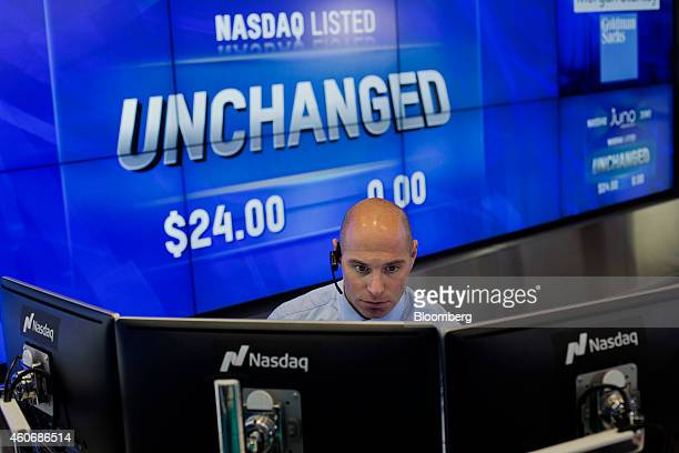 Jay Heller IPO execution officer at NASDAQ OMX Group Inc prepares for the initial public offering of Juno Therapeutics Inc at the Nasdaq MarketSite...
