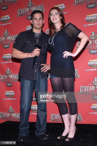Jay Hernandez and Diora Baird during Spike TV's 'Scream Awards 2006' Press Room at Pantages Theater in Hollywood California United States