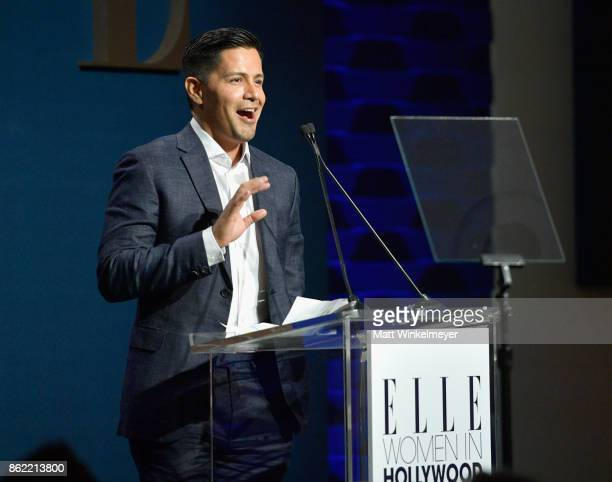 Jay Hernandez speaks onstage during ELLE's 24th Annual Women in Hollywood Celebration presented by L'Oreal Paris Real Is Rare Real Is A Diamond and...