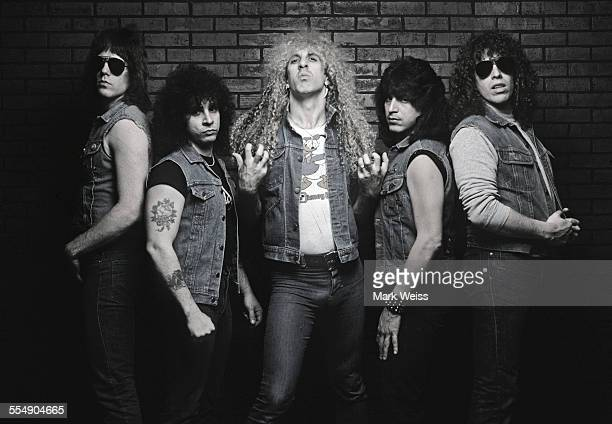 Jay Jay French AJ Pero Dee Snider Eddie Ojeda and Mark Mendoza of Twisted Sister group portrait outtake from the 'Stay Hungry' album cover shoot New...