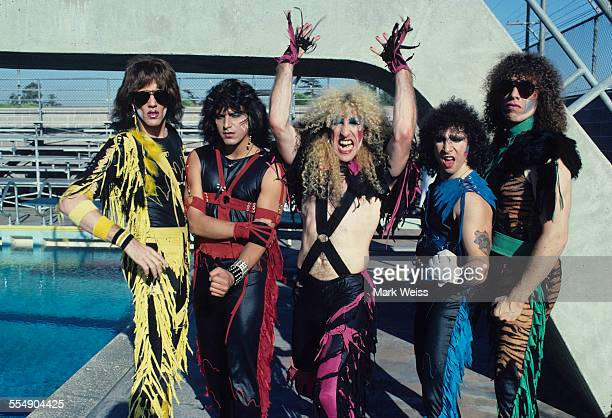 Jay Jay French Eddie Ojeda Dee Snider AJ Pero and Mark Mendoza of Twisted Sister group portrait on the set of the video shoot for their single 'I...