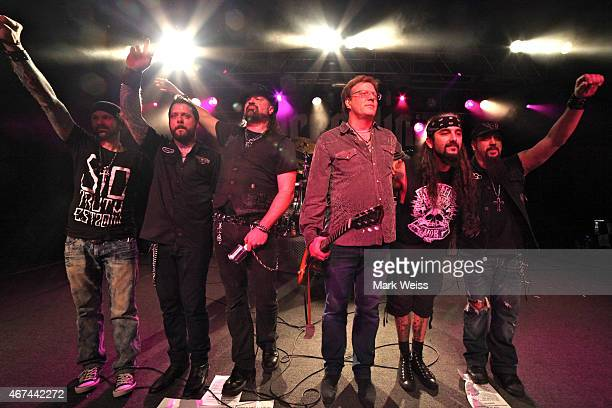 Jay Jay French of Twisted Sister and Chad Szeliga Erik Leonhardt Russell Allen Mike Portnoy and Mike Orlando of Adrenaline Mob onstage during the AJ...