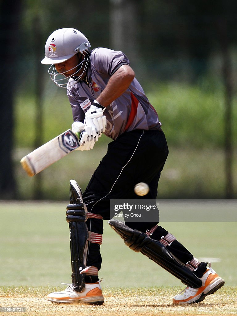 Jay Jay Pankesh Joshi of UAE hits during the ACC U-19 Elite Cup Semi Final match between UAE and Nepal at the Bayuemas Oval on May 10, 2013 in Kuala Lumpur, Malaysia.