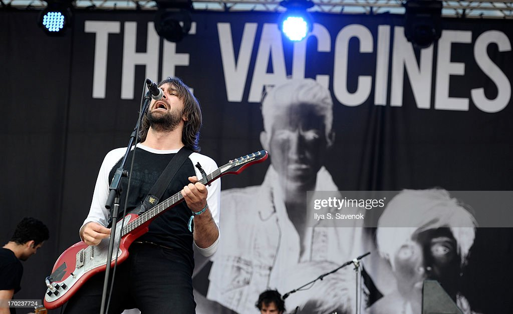 Jay Jay Pistolet of The Vaccines performs during 2013 Governors Ball Music Festival at Randall's Island on June 9 2013 in New York City