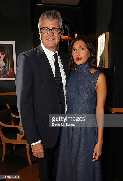 Jay Joplin and Hikari Yokoyama attend a private dinner hosted by Hikari Yokoyama to celebrate the Harper's Bazaar charity auction with Paddle8 in aid...