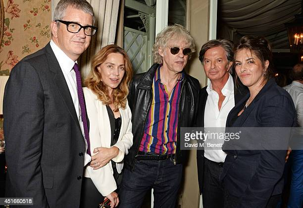 Jay Jopling Jeanne Marine Sir Bob Geldof Richard Caring and Tracey Emin attend Tracey Emin's birthday party at Mark's Club on July 3 2014 in London...