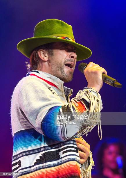 Jay Kay of Jamiroquai performs on stage at Arena Ciudad de Mexico on February 25 2013 in Mexico City Mexico