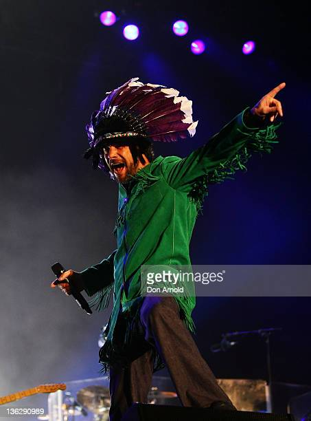 Jay Kay of Jamiroquai performs on stage during the Sydney Resolution New Year's eve concert at Glebe Island on December 31 2011 in Sydney Australia