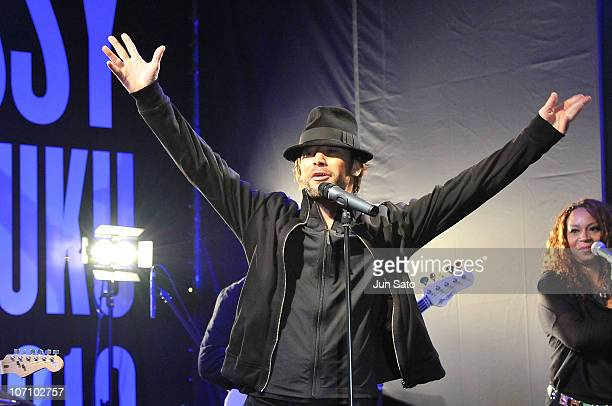 Jay Kay of Jamiroquai promotes the band's latest album 'Rock Dust Light Star' at 'AZUL by moussy' flagship store opening event on November 24 2010 in...