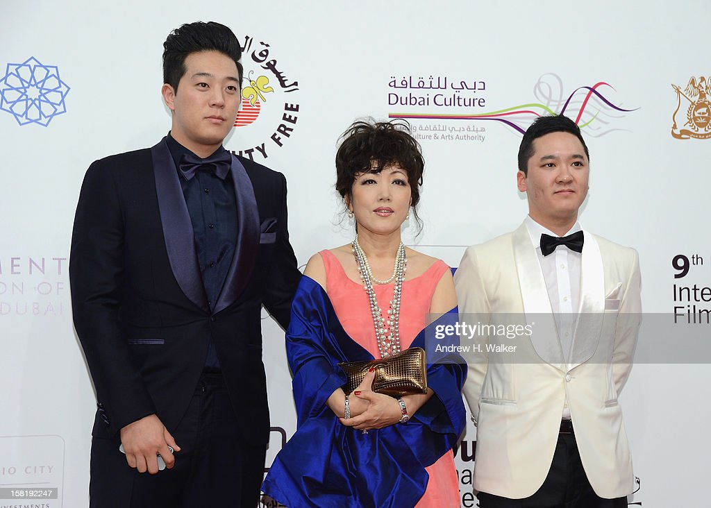 Jay Kim, Erica Yoon and Warren Chang attend the 'Life of PI' Opening Gala during day one of the 9th Annual Dubai International Film Festival held at the Madinat Jumeriah Complex on December 9, 2012 in Dubai, United Arab Emirates.