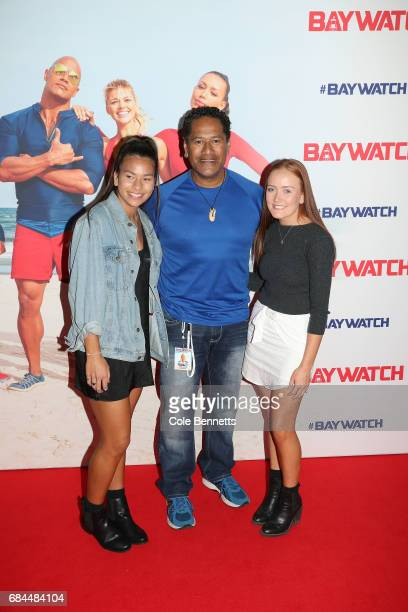 Jay Laga'aia with his daughter and friend arrive ahead of the Australian Premiere of Baywatch on May 18 2017 in Sydney Australia