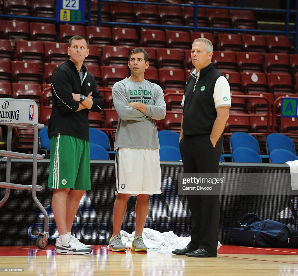 Jay Larranaga, assistant coach, <a gi-track='captionPersonalityLinkClicked' href=/galleries/search?phrase=Danny+Ainge&family=editorial&specificpeople=504679 ng-click='$event.stopPropagation()'>Danny Ainge</a>, President of Basket Operations and head coach <a gi-track='captionPersonalityLinkClicked' href=/galleries/search?phrase=Brad+Stevens&family=editorial&specificpeople=5022542 ng-click='$event.stopPropagation()'>Brad Stevens</a> of the Boston Celtics observe practice as part of the 2015 Global Games on October 5, 2015 at the Mediolanum Forum in Milan, Italy.