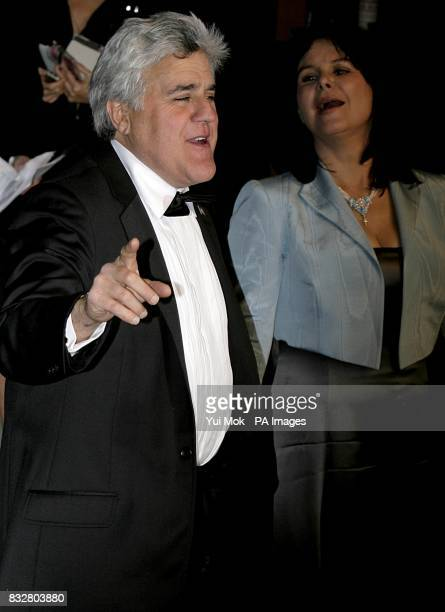 Jay Leno and wife Mavis Nicholson arrive for the annual Vanity Fair Party at Mortons Restaurant Los Angeles