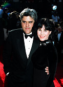 Jay Leno and wife Mavis Nicholson during 1993 Emmy Awards Arrivals in Los Angeles California