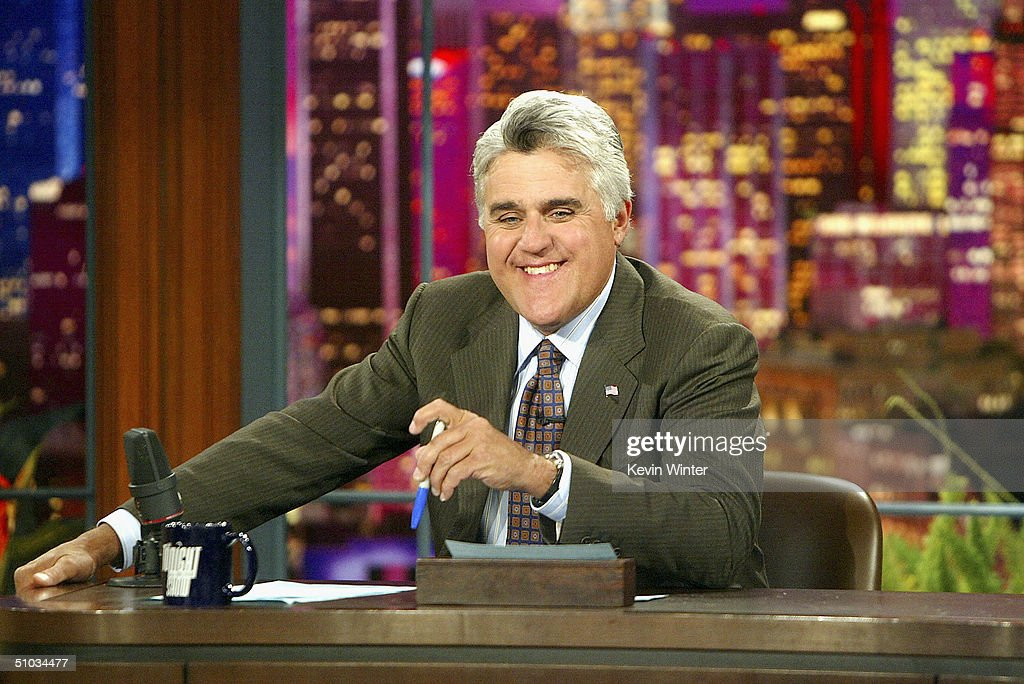 Jay Leno appears on 'The Tonight Show' on July 7 2004 at the NBC Studios in Burbank California