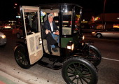 Jay Leno arrives in his 1909 Baker Electric car at 'Revenge Of The Electric Car' Premiere held at Landmark Nuart Theatre on October 21 2011 in Los...
