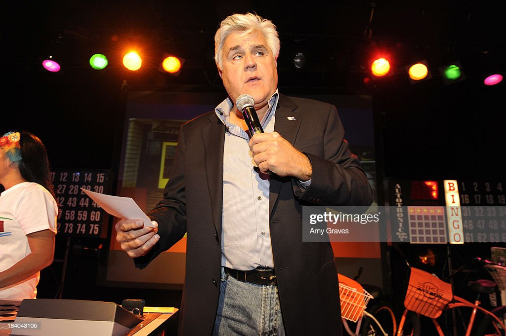 Jay Leno calls a bingo game at Bingo At The Roxy to Benefit The Painted Turtle at The Roxy Theatre on October 10, 2013 in West Hollywood, California.