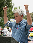 Jay Leno during Jay Leno and Lee Iacocca visit the 'Mustangs In The Park' Car Show at Woodley Park in Van Nuys California