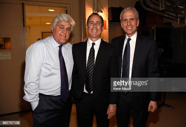 Jay Leno Jerry Seinfeld and Bob Roth attend the National Night Of Laughter And Song event hosted by David Lynch Foundation at the John F Kennedy...