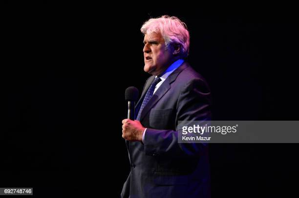 Jay Leno performs on stage at the National Night Of Laughter And Song event hosted by David Lynch Foundation at the John F Kennedy Center for the...
