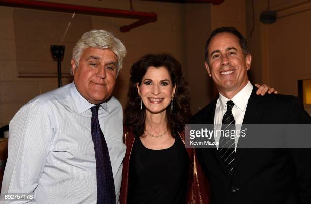 Jay Leno Sharon Isbin and Jerry Seinfeld attend the National Night Of Laughter And Song event hosted by David Lynch Foundation at the John F Kennedy...