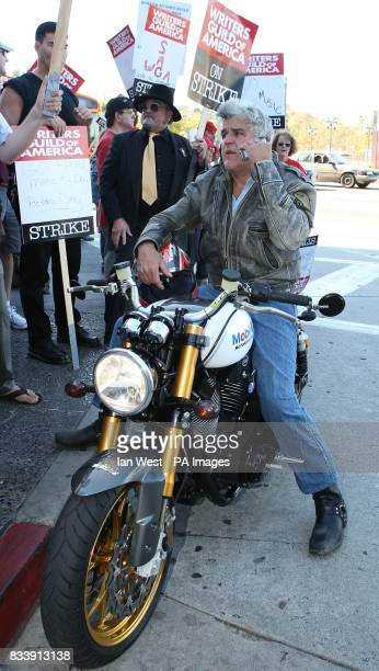 Jay Leno shows his support for writers who are currently on strike seeking a better pay deal as they picket at the Universal City Studios in Los...