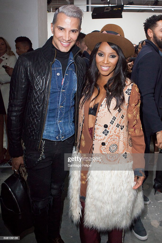 Jay Manuel and June Ambrose attend the Brett Johnson Presentation during New York Fashion Week Men's Fall/Winter 2016 at Skylight at Clarkson Sq on...
