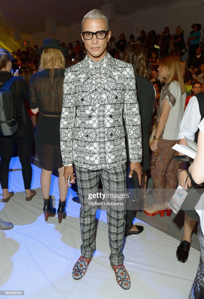 <a gi-track='captionPersonalityLinkClicked' href=/galleries/search?phrase=Jay+Manuel&family=editorial&specificpeople=557434 ng-click='$event.stopPropagation()'>Jay Manuel</a> attends the Custo Barcelona fashion show during Mercedes-Benz Fashion Week Spring 2014 at The Stage at Lincoln Center on September 8, 2013 in New York City.