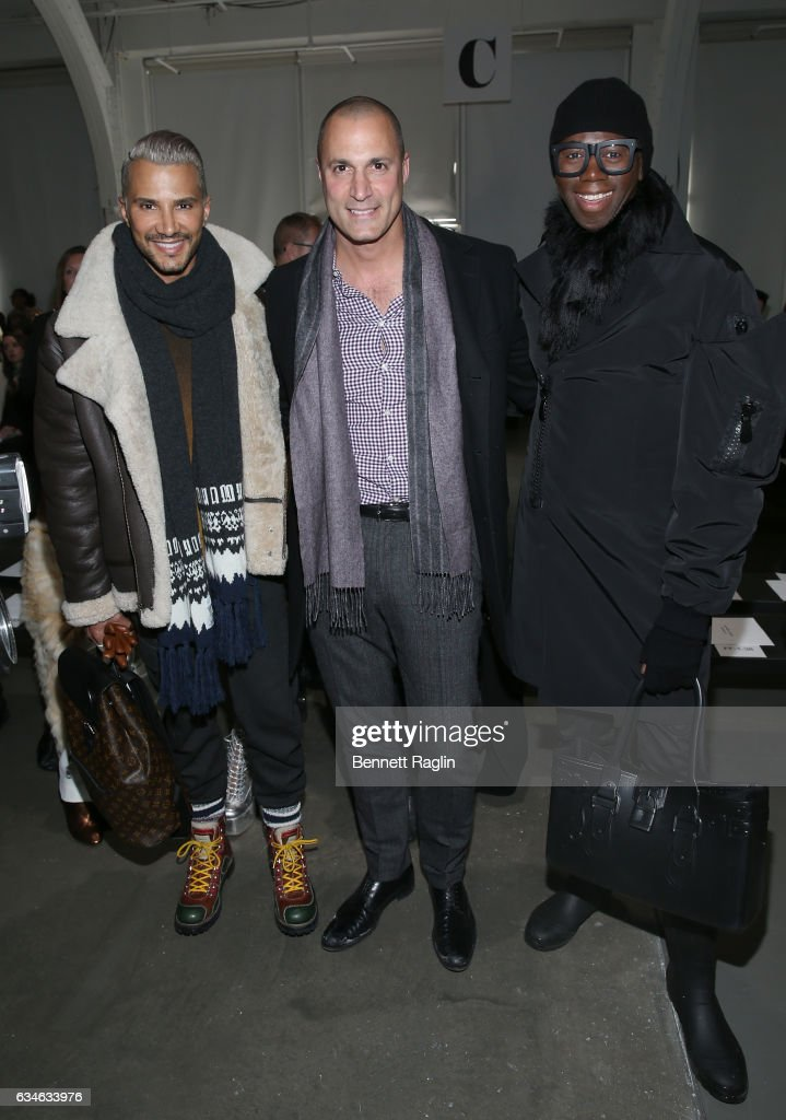 Jay Manuel, Nigel Barker and Miss J Alexander attend the Pamella Roland Fashion Show during New York Fashion Week at Pier 59 Studios on February 10, 2017 in New York City.