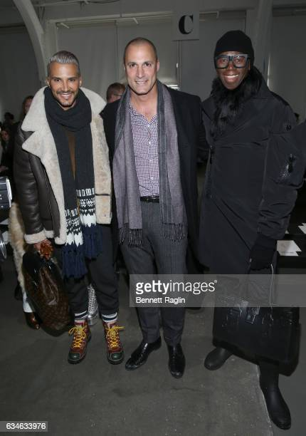 Jay Manuel Nigel Barker and Miss J Alexander attend the Pamella Roland Fashion Show during New York Fashion Week at Pier 59 Studios on February 10...