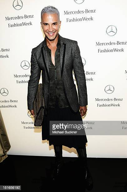 Jay Manuel poses at the MercedesBenz Star Lounge during Spring 2013 MercedesBenz Fashion Week on September 9 2012 in New York New York