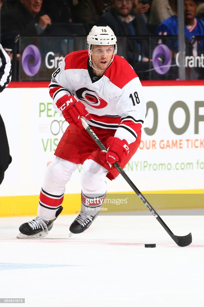 Jay McClement #18 of the Carolina Hurricanes skates against the New York Islanders skates against the Carolina Hurricanes at the Barclays Center on March 13, 2017 in Brooklyn borough of New York City. Carolina Hurricanes defeated the New York Islanders 8-4.