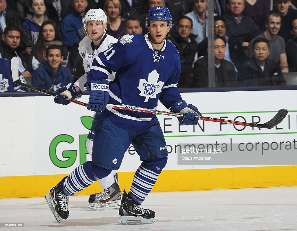 <a gi-track='captionPersonalityLinkClicked' href=/galleries/search?phrase=Jay+McClement&family=editorial&specificpeople=575233 ng-click='$event.stopPropagation()'>Jay McClement</a> #11 of the Toronto Maple Leafs skates in a game against the Tampa Bay Lightning on March 20, 2013 at the Air Canada Centre in Toronto, Ontario, Canada. The Leafs defeated the Lightning 4-2.