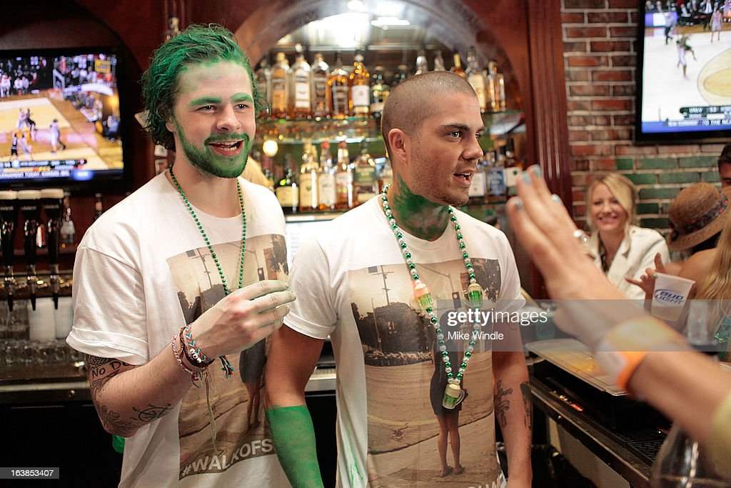 Jay McGuiness (L) and Max George of The Wanted attend Rock & Reilly's Irish Rock Pub hosts 2nd annual St. Paddy's block party on Sunset Strip on March 16, 2013 in West Hollywood, California.