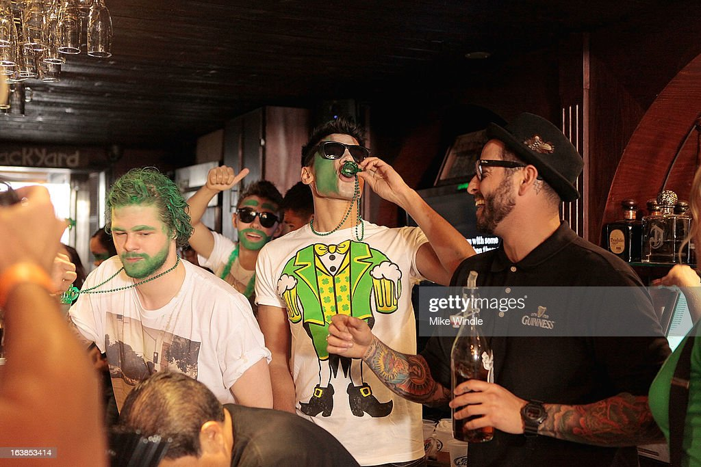 Jay McGuiness (L) and Siva Kaneswaran of The Wanted attend Rock & Reilly's Irish Rock Pub hosts 2nd annual St. Paddy's block party on Sunset Strip on March 16, 2013 in West Hollywood, California.
