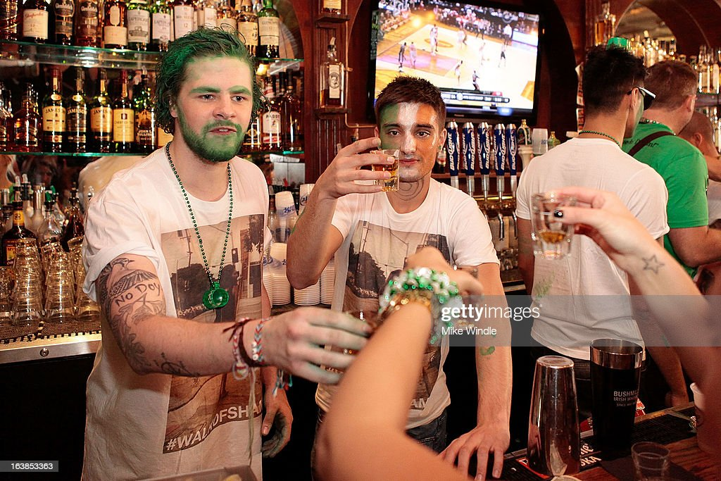 Jay McGuiness (L) and Tom Parker of The Wanted attend Rock & Reilly's Irish Rock Pub hosts 2nd annual St. Paddy's block party on Sunset Strip on March 16, 2013 in West Hollywood, California.