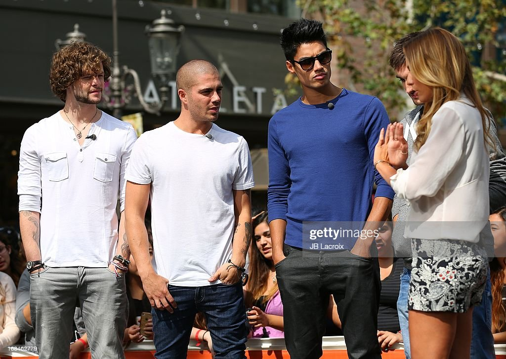 <a gi-track='captionPersonalityLinkClicked' href=/galleries/search?phrase=Jay+McGuiness&family=editorial&specificpeople=7039806 ng-click='$event.stopPropagation()'>Jay McGuiness</a>, <a gi-track='captionPersonalityLinkClicked' href=/galleries/search?phrase=Max+George&family=editorial&specificpeople=7039808 ng-click='$event.stopPropagation()'>Max George</a>, <a gi-track='captionPersonalityLinkClicked' href=/galleries/search?phrase=Siva+Kaneswaran&family=editorial&specificpeople=7039810 ng-click='$event.stopPropagation()'>Siva Kaneswaran</a> and Renee Bargh are seen on May 9, 2013 in Los Angeles, California.