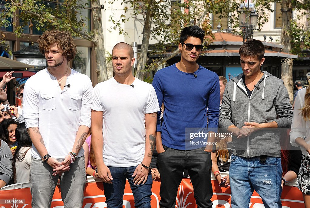 <a gi-track='captionPersonalityLinkClicked' href=/galleries/search?phrase=Jay+McGuiness&family=editorial&specificpeople=7039806 ng-click='$event.stopPropagation()'>Jay McGuiness</a>, <a gi-track='captionPersonalityLinkClicked' href=/galleries/search?phrase=Max+George&family=editorial&specificpeople=7039808 ng-click='$event.stopPropagation()'>Max George</a>, <a gi-track='captionPersonalityLinkClicked' href=/galleries/search?phrase=Siva+Kaneswaran&family=editorial&specificpeople=7039810 ng-click='$event.stopPropagation()'>Siva Kaneswaran</a> and Tom Parker of The Wanted visit 'Extra' at The Grove on May 9, 2013 in Los Angeles, California.