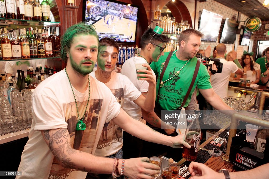 Jay McGuiness, Tom Parker and Siva Kaneswaran of The Wanted attend Rock & Reilly's Irish Rock Pub hosts 2nd annual St. Paddy's block party on Sunset Strip on March 16, 2013 in West Hollywood, California.