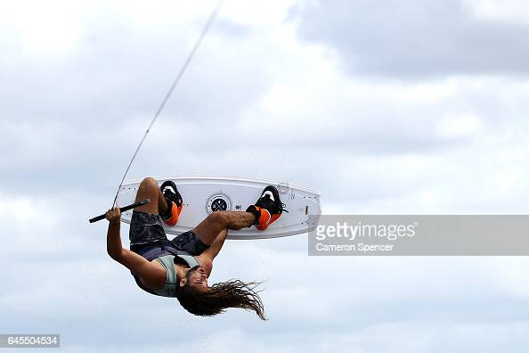 Jay Olsen competes in the NSW Wakeboarding State Titles at Governor Phillip Park in Windsor on February 26 2017 in Sydney Australia
