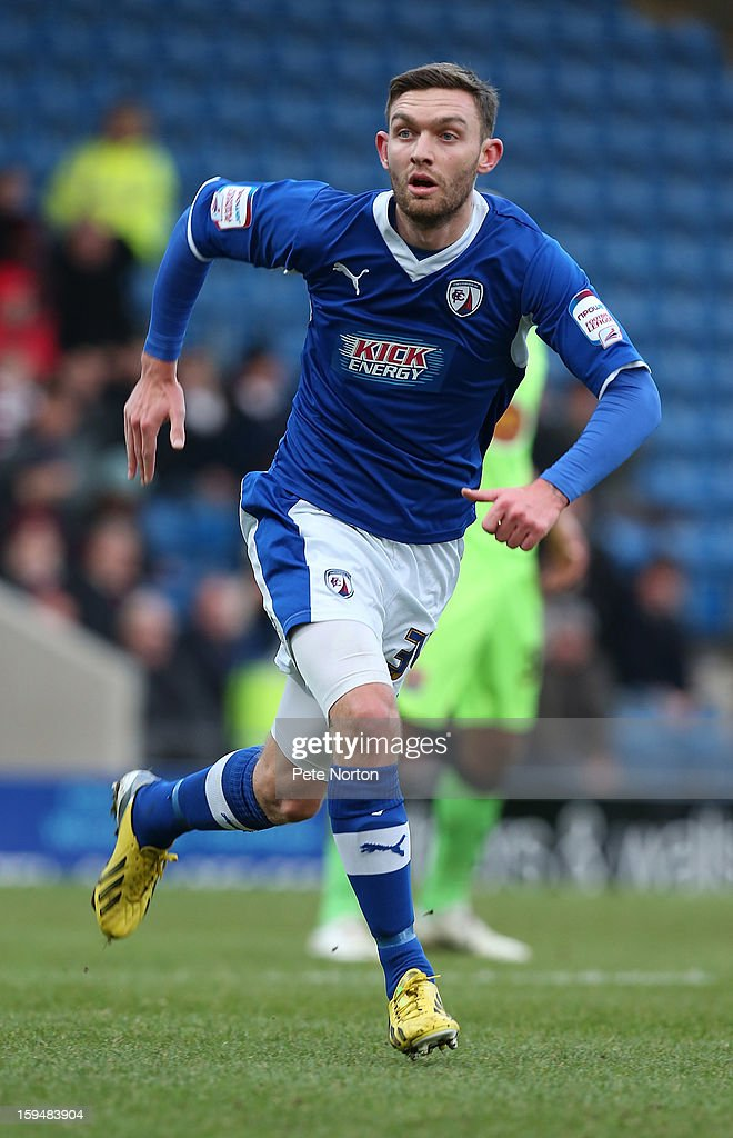 Jay O'Shea of Chesterfield in action during the npower League Two match between Chesterfield and Northampton Town at the Proact Srtadium on January 12, 2013 in Chesterfield, England.