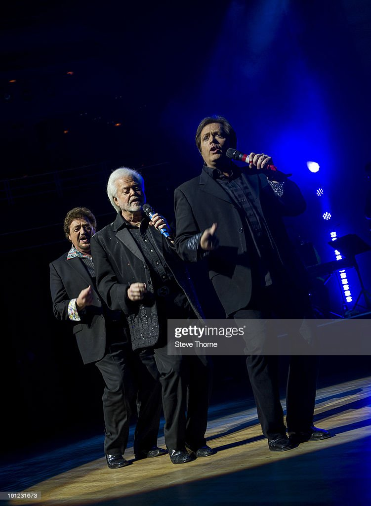Jay Osmond, Merrill Osmond and <a gi-track='captionPersonalityLinkClicked' href=/galleries/search?phrase=Jimmy+Osmond&family=editorial&specificpeople=836992 ng-click='$event.stopPropagation()'>Jimmy Osmond</a> perform on stage as part of Boogie Nights at Symphony Hall on February 9, 2013 in Birmingham, England.
