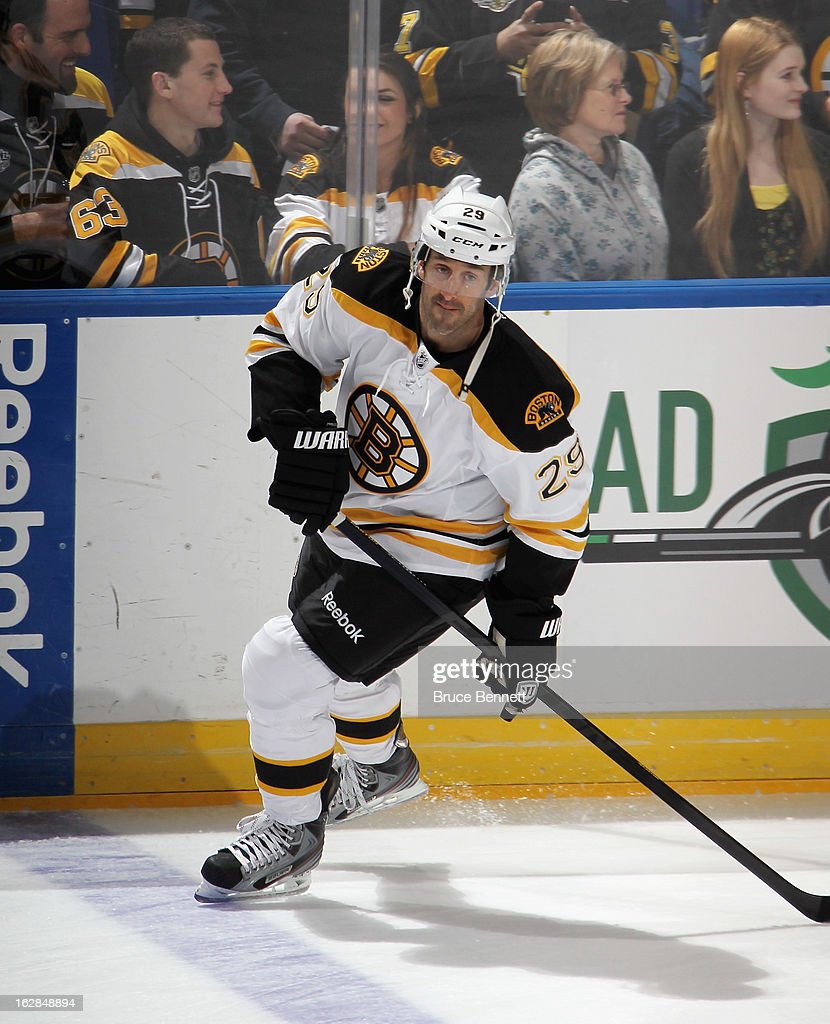 <a gi-track='captionPersonalityLinkClicked' href=/galleries/search?phrase=Jay+Pandolfo&family=editorial&specificpeople=202871 ng-click='$event.stopPropagation()'>Jay Pandolfo</a> #29 of the Boston Bruins skates in warmups prior to the game against the New York Islanders at the Nassau Veterans Memorial Coliseum on February 28, 2013 in Uniondale, New York.
