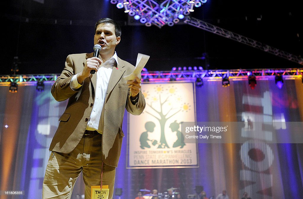 Jay Paterno encourages participants during the Penn State IFC/Panhellenic Dance Marathon at the Bryce Events Center in University Park, Pennsylvania, on Saturday, February 16, 2013. Dancers started the 46-hour fundraiser on Friday. The event, known as Thon, raises money to help families that are battling pediatric cancer. Last year's event raised $10 million.