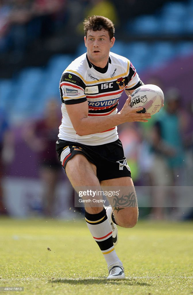 Jay Pitts of Bradford Bulls in action during the Super League match between Huddersfield Giants and Bradford Bulls at Etihad Stadium on May 18, 2014 in Manchester, England.