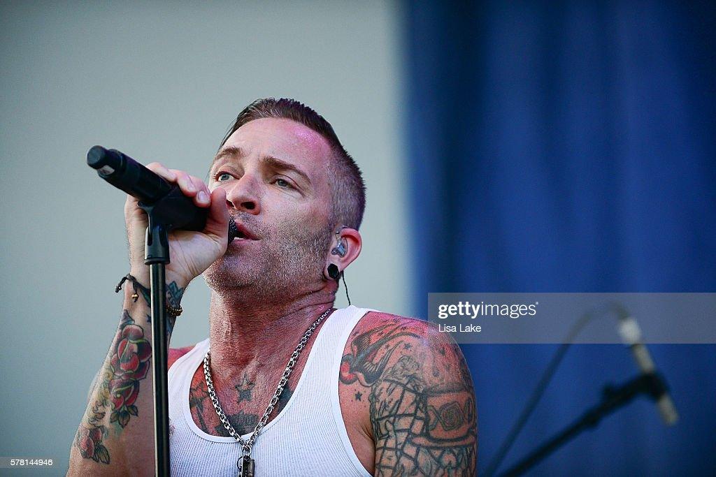 A Jay Popoff of the band LIT performs during the Summerland Tour at SteelStacks Levitt Pavillion on July 20 2016 in Bethlehem Pennsylvania