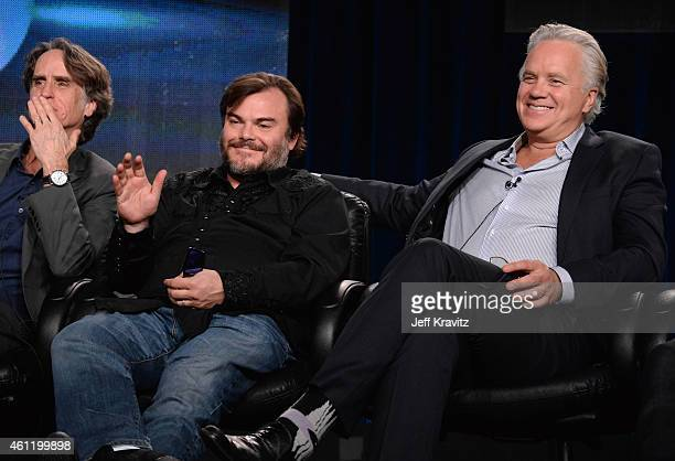 Jay Roach executive producer/director Jack Black actor/coexecutive producer and actor/director/producer Tim Robbins speak onstage during 'The Brink'...